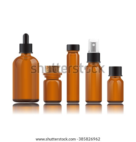 Vector realistic set bottles for essential oils and cosmetic products. Glass vials on reflective surface. Dropper bottle, vial with bamboo cover, flask, spray bottle, jar. Mockup on white background.
