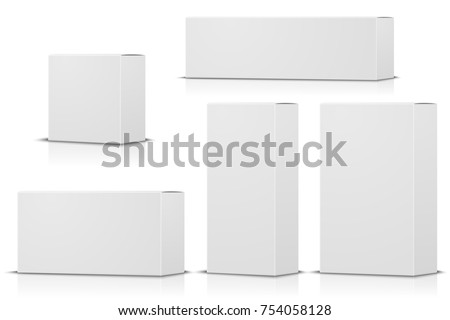 Vector realistic set of different white boxes. For branding etc.