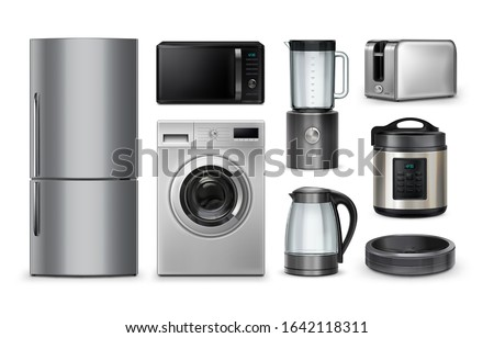 Vector realistic set of household and kitchen appliances isolated on white background. Microwave, refrigerator, washing-machine, toaster, multi-cooker, kettle, blender, robot vacuum cleaner