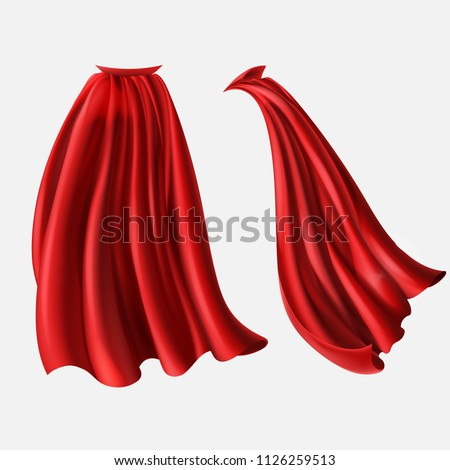 Vector realistic set of red cloaks, flowing silk fabrics isolated on white background. Satin wavy materials, drapery. Carnival clothes, decorative costume for superhero, vampire, cape for illusionist