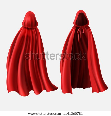 Vector realistic set of red cloaks with hoods isolated on white background. Carnival clothes, fancy dress, masquerade costume for superhero, vampire. Mockup with silk capes, front and back view