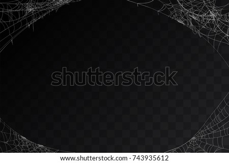 Vector realistic set of siderweb or cobweb, isolated on black, transparent background. Spiderweb in the corner for Halloween design. Spider web elements,spooky, scary, horror halloween decor.