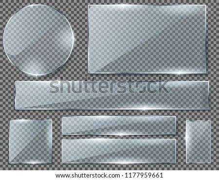 Vector realistic set of transparent glass plates, blank shining frames isolated on background. Collection of clear banners in different shapes with glossy effect. Clipart for your design