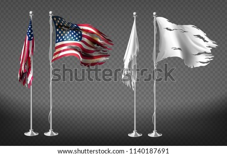 Vector realistic set with damaged flags of United States of America on steel poles isolated on transparent background. Dirty white banners with ragged edges on flagpole. Clipart for your design Photo stock ©