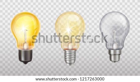 Vector realistic set with incandescent lamps, glowing yellow light bulbs, isolated on transparent background. Electric lightbulb, symbol of creative ideas, business solutions, innovations