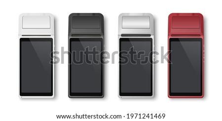 Vector Realistic Silver 3d Payment Machine. POS Terminal Set Closeup Isolated on White Background. Design Template of Bank Payment Terminal, Mockup. Processing NFC Payments Device. Top View