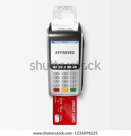 Vector Realistic Silver 3d Payment Machine. POS Terminal with Receipt and Credit Card Closeup Isolated on White Background. Design Template of Bank Payment Terminal, Mockup. payments device. Top View