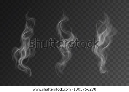 Vector realistic smoke or steam set isolated on dark background