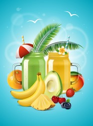 Vector realistic smoothie poster. Two mason jars with fruit shake or lemonade, avocado, banana, mango, orange, pineapple, strawberry, blueberry and cherry. Healthy cold drinks banner.