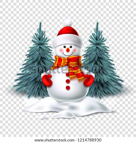 Vector realistic snowman smiling standing in snow near spruce trees. Cute new year, christmas holiday character smiling in red mittens scarf and hat. Winter greeting card design transparent background