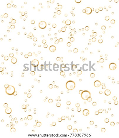 Vector realistic soda, champagne carbonated drink with bubbles close up illustration. Golden CO sparklings on white isolated background. Poster, banner design element