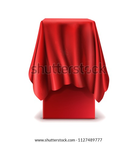 Vector realistic stand covered with red silk cloth isolated on white background. Empty podium, tribune with tablecloth for speech or presentation. Secret box, hidden under satin fabric with drapery