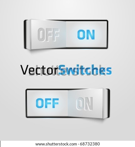 Vector realistic switch. ON and OFF positions.