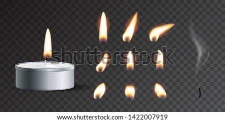 Vector realistic tea candle with fire and candle fire set isolated on transparent background