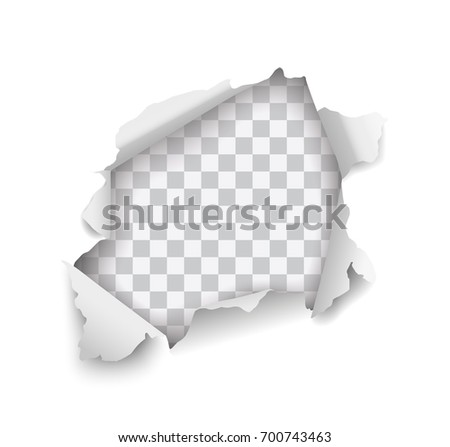 Vector realistic torn hole in paper on transparent background