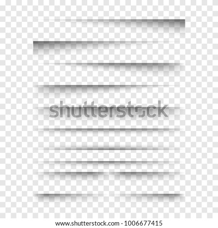 Vector realistic transparent shadows set. Paper edge shadows on transparent background. Template for your design