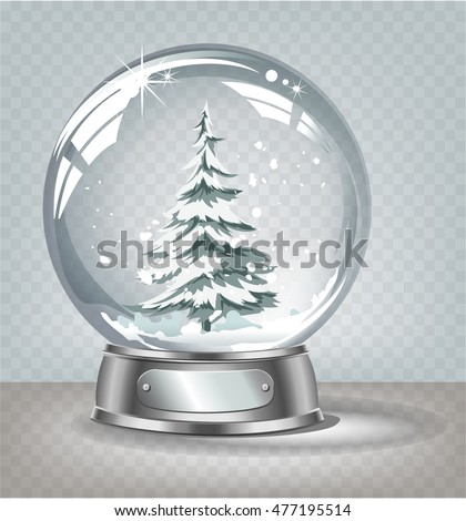 Vector realistic transparent snow globe with snow and christmas tree on a light abstract background