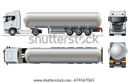 Vector realistic tunker truck template isolated on white. Available EPS-10 separated by groups and layers with transparency effects for easy edit