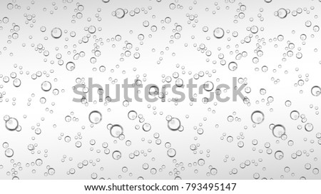 Vector realistic water, soda, transparent carbonated drink with bubbles close up illustration. CO sparklings on white isolated background. Poster, banner design element