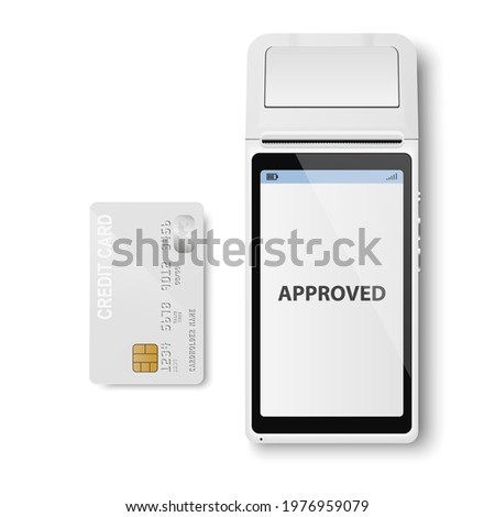 Vector Realistic White 3d Payment Machine. POS Terminal, Credit Card Closeup Isolated. Approved Payment. Design Template of Bank Payment Terminal, Mockup. Processing NFC Payments Device. Top View