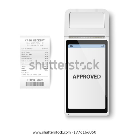 Vector Realistic White 3d Payment Machine. POS Terminal, Paper Receipt Closeup Isolated. Approved Payment. Design Template of Bank Payment Terminal, Mockup. Processing NFC Payments Device. Top View