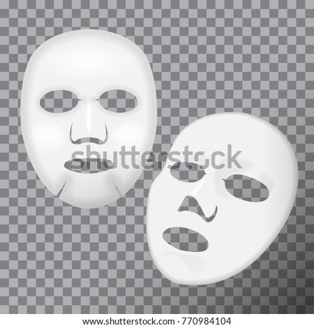 Vector realistic white facial cosmetic sheet mask on transparent background for your design