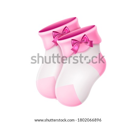 Vector realistic wool baby socks. Pink newborn girl socks for birthday party invitaion, greeting card. 3d warm handmade socks with pink silk bow. Cute infant baby socks.