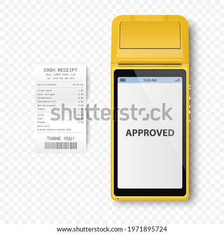 Vector Realistic Yellow 3d Payment Machine. POS Terminal, Paper Receipt Closeup Isolated. Approved Payment. Design Template of Bank Payment Terminal, Mockup. Processing NFC Payments Device. Top View