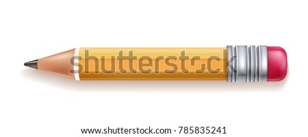 Vector realistic yellow wooden pencil with rubber eraser. Sharpened detailed office mockup, school instrument, creativity, idea, education and design symbol. Isolated illustration, white background.