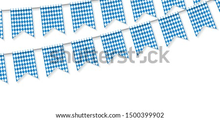 Vector realsitic isolated party flags flyer of Oktoberfest festival for template decoration and invitation covering on the white background. Photo stock ©