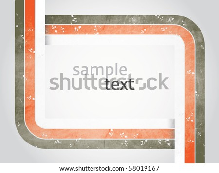 Vector rectangle for text, three color line as frame with grunge effect with white background