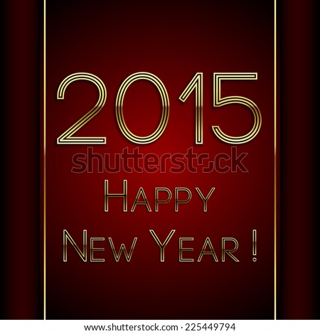 Vector rectangle red greeting new year 2015 postcard with ribbon and gold letters