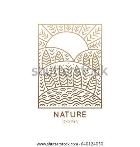 Vector rectangular logo of nature elements. Linear icon of landscape with trees, river, fields and sun - business emblems, badge for a travel, farming and ecology concepts, health and yoga Center.
