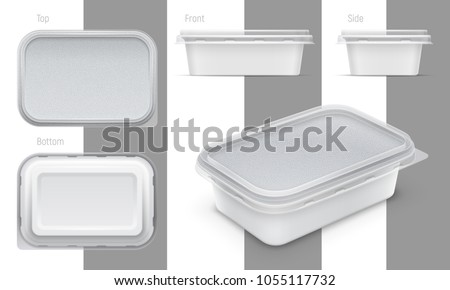 Vector rectangular plastic container with foil and transparent lid for butter, yoghurt or melted cheese. Set of top, bottom, front, side and perspective views. Packaging mockup illustration.