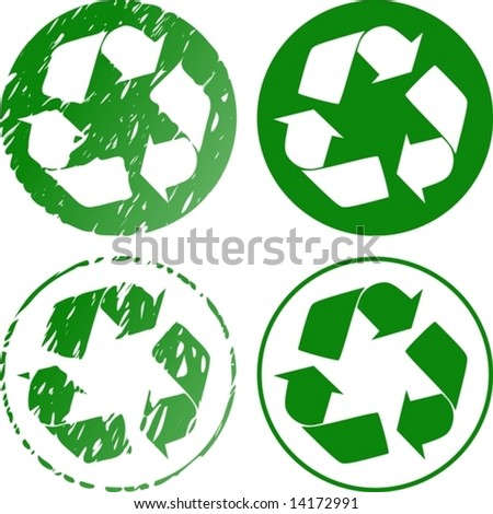 vector. recycle icon grungy rubber stamp version