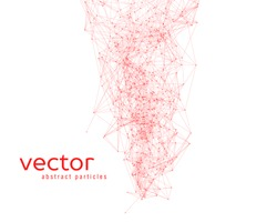 Vector red abstract particles on white background