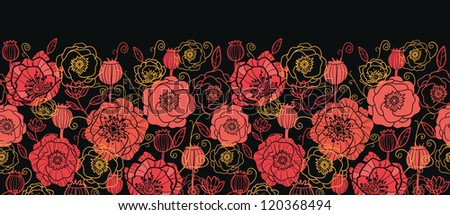 Vector red and black poppy flowers horizontal seamless ornament pattern background with hand drawn floral elements.