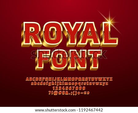 Vector Red and Gold Royal 3D Font. Luxury Glossy Alphabet Letters, Numbers and Symbols.