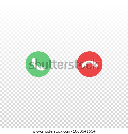 Vector red and green phone icon isolated on white background. Element for design interface mobile app or website