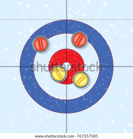 vector red and yellow curling stones in the house, on ice rink. curling sport game background. team with yellow rocks wins the end. eps10 illustration