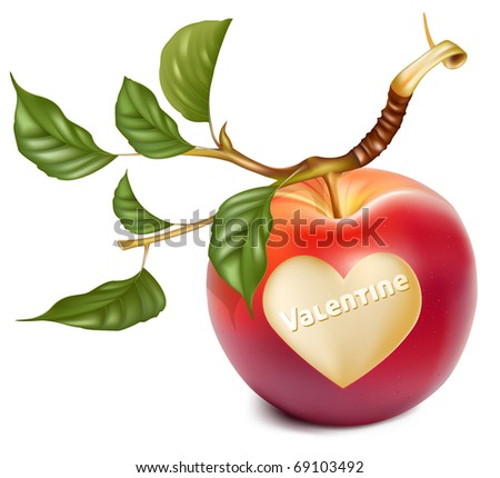 Vector red apple with a heart symbol. Happy Valentine!