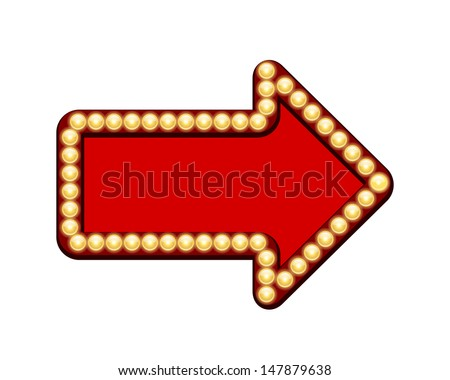 Vector Red arrow with light bulbs isolated on white background