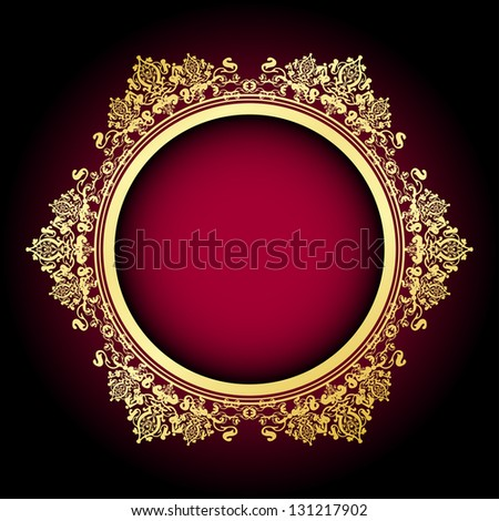 Vector red background, gold frame