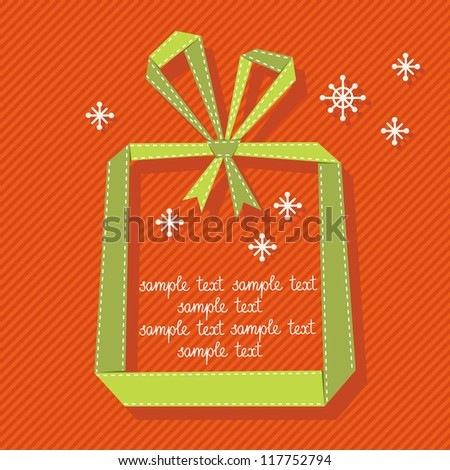 Vector red background with gift box made from green paper ribbon. Original christmas greeting, invitation card in origami style. Simple illustration for presentation with banner, snowflakes, text box