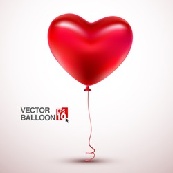 Vector red balloon in form of heart on light background.