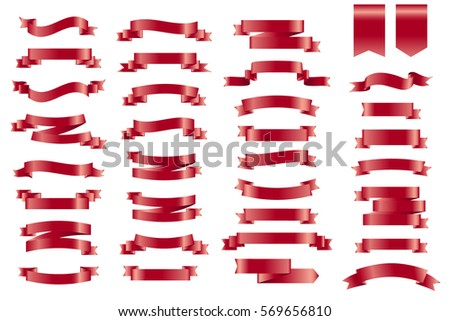 Vector red banner Ribbons. Set of 34 Ribbons