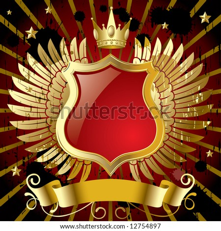 Vector red banner with gold wings - stock vector