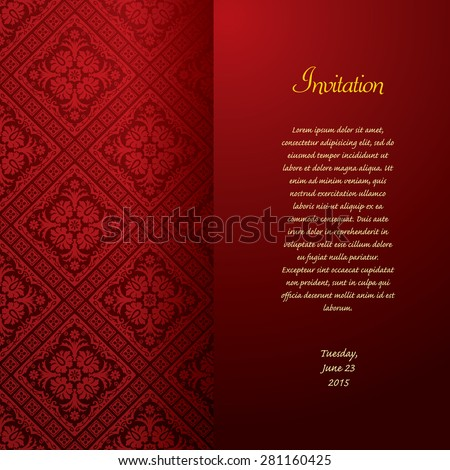 vector red baroque invitation card