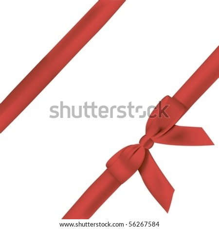 Vector red bow and ribbon