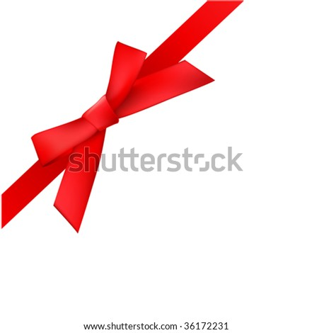 vector red bow is at an angle
